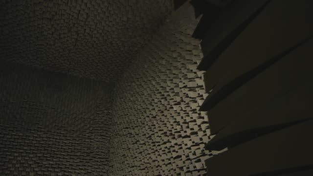 Pan across a soundproof anecohic chamber.