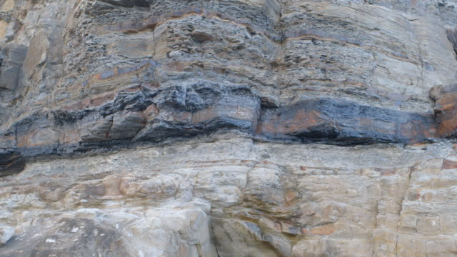 Pan across a stratum of coal running through a rough cliff face on a beach in Newcastle, New South Wales, Australia.