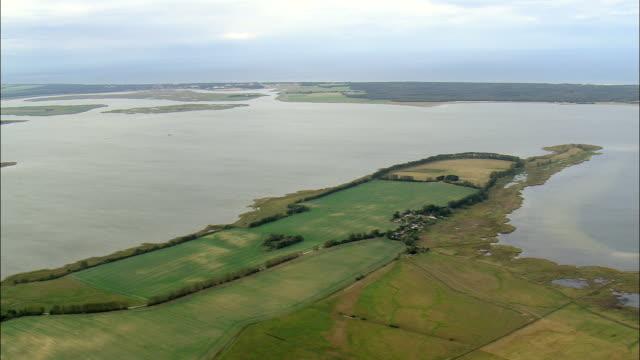 Pan Across Barth Lagoon  - Aerial View - Mecklenburg-Vorpommern,  Germany
