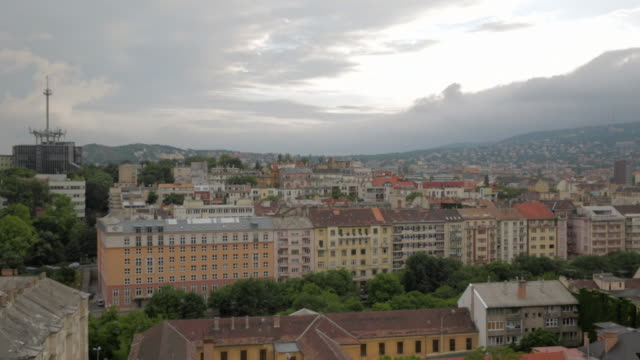 pan across buda skyline - royal palace of buda stock videos & royalty-free footage