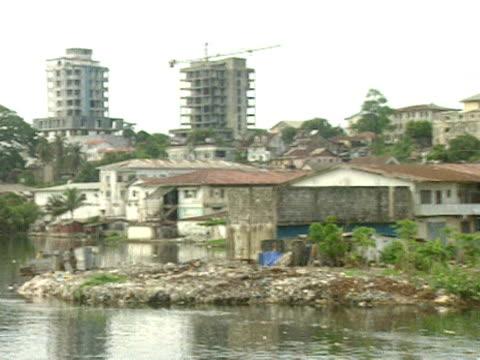 Pan across buildings at waters edge Monrovia 1997