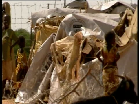 pan across children standing in refugee camp darfur jul 04 - 小枝点の映像素材/bロール