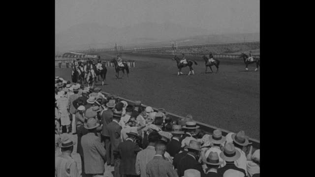 pan across crowd in stands at agua caliente racetrack / pan across female jockeys standing in line posing for photo opportunity / race horses parade... - agua点の映像素材/bロール