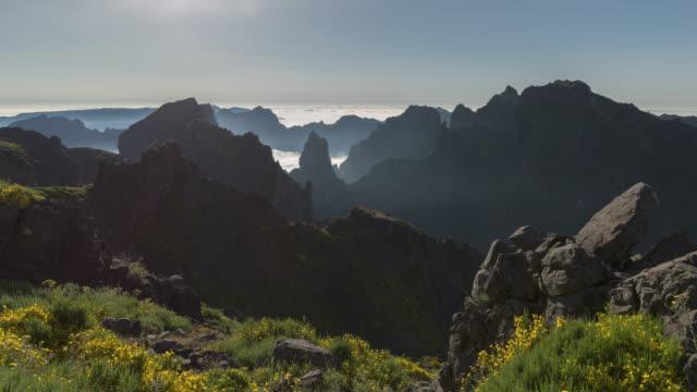 Pan across dramatic volcanic mountain ranges
