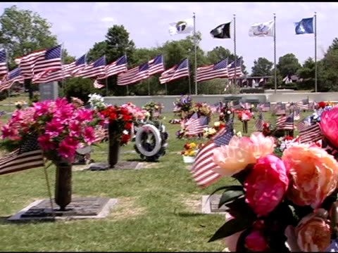 pan across flags at cemetery - us memorial day stock videos & royalty-free footage