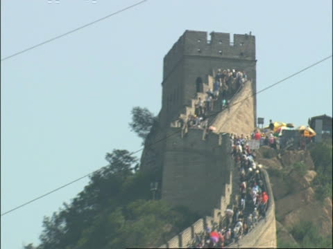 Pan across from one section of Great Wall of China to another, both crowded with tourists, Badaling, China