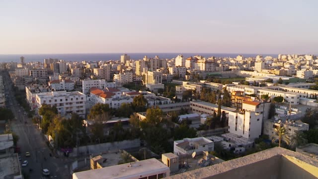 pan across gaza city skyline - gaza strip stock videos & royalty-free footage