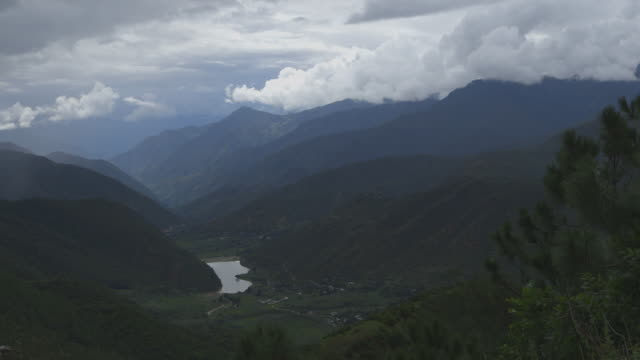pan across himalayan valley in china - valley stock videos & royalty-free footage