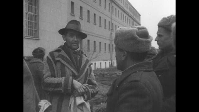 pan across huge number of dead prisoners in courtyard / different angle of dead prisoners in courtyard / two shots of soviet soldiers talking to... - former soviet union stock videos & royalty-free footage
