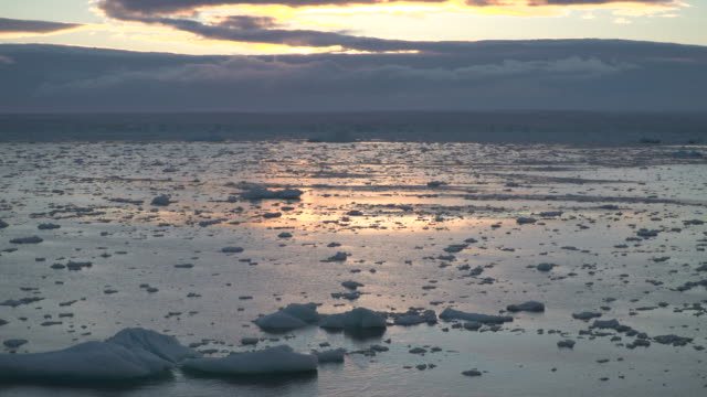 vídeos y material grabado en eventos de stock de pan across icy bay of water in arctic circle during sunset - social media