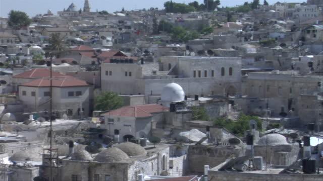 Pan across Jerusalem cityscape