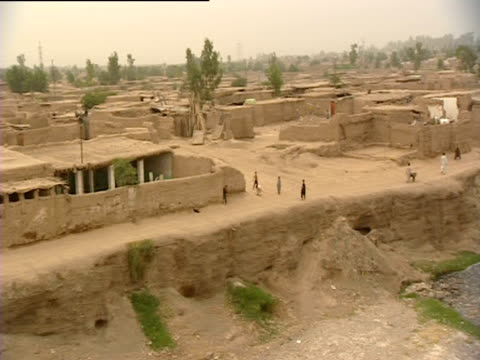 Pan across mud huts in village