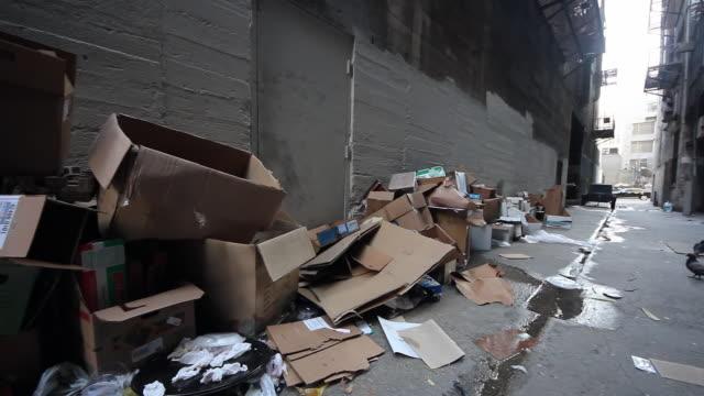 vídeos de stock e filmes b-roll de pan across of cardboard and trash to alleyway entrance with pigeons - imagem em movimento