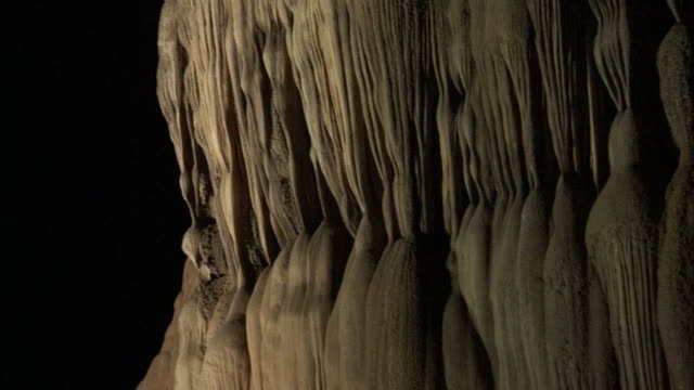 Pan across rock formations inside the Hang Song Doong cave, Vietnam.