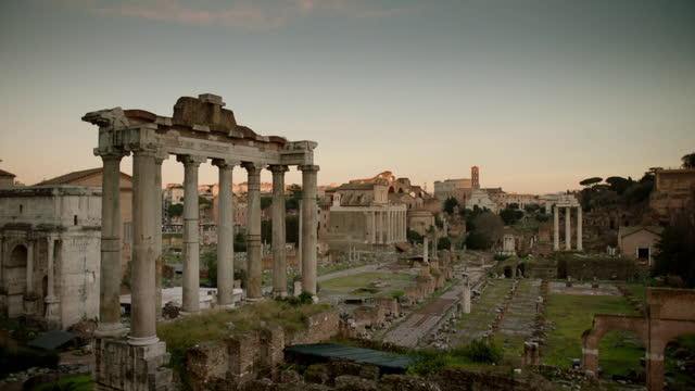 ws pan across roman forum, rome, italy - ruined stock videos & royalty-free footage