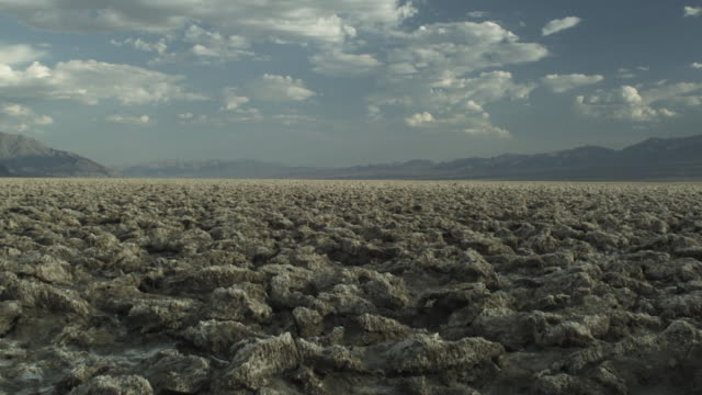 Pan across salt pan in Death Valley, Eastern California.