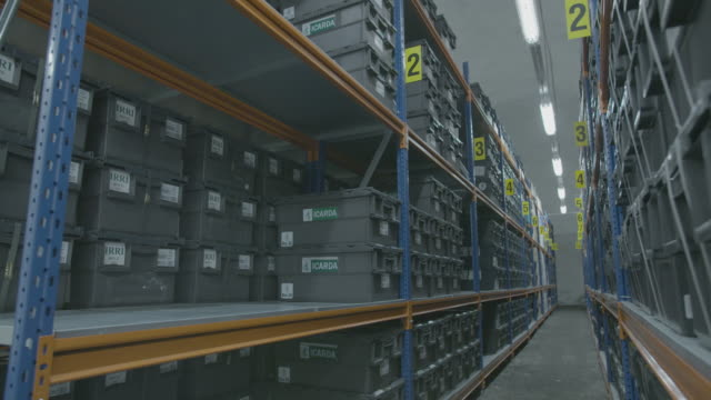 vídeos de stock e filmes b-roll de pan across shelves in global seed vault storage facility - semente