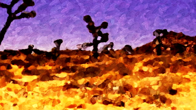 pan across the joshua tree desert looking like a moving impressionistic painting. - 熱帯の低木点の映像素材/bロール