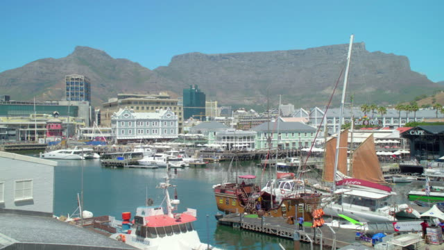 Pan across the V&A Waterfront in Cape Town, South Africa
