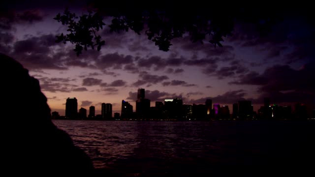 pan across to reveal miami skyline at sunset - baia di biscayne video stock e b–roll