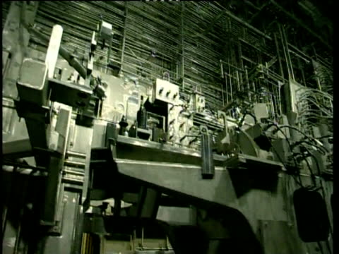 pan across vitrification processing machine inside nuclear power station sellafield - nuclear power station stock videos & royalty-free footage