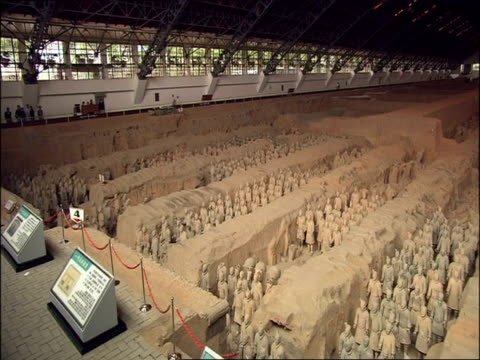 pan across wa terracotta army, high angle, museum of qin, xian, china - army video stock e b–roll
