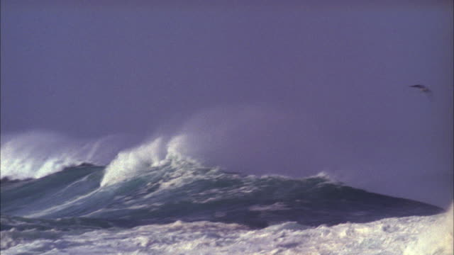 Pan across waves on rough sea Available in HD.