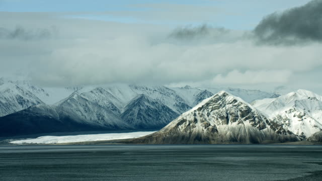 pan along mountains in canadian arctic - panning stock videos & royalty-free footage
