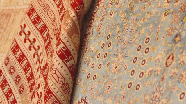 pan along oriental carpet - carpet stock videos & royalty-free footage