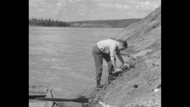 pan along side of open pit mine, pine trees along top / man in rowboat comes to stop on bank of river, gets out and starts digging up oil sand on... - campione di laboratorio video stock e b–roll