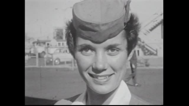 pan american world airlines planes taxies / captain down stairs / a hostess gets off a pan am plane shows her uniform and then pulls her skirt up to... - air stewardess stock videos & royalty-free footage