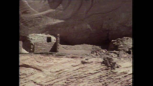 pan ancient anasazi ruins in canyon de chelly, arizona; 1979 - anasazi culture stock videos & royalty-free footage