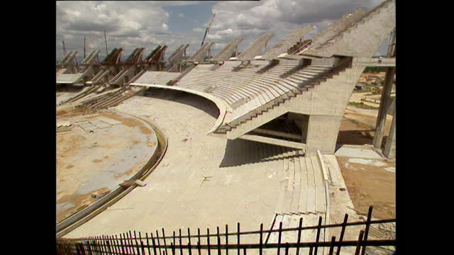 pan bukit jalil national stadium under construction; 1996 - amphitheatre stock videos & royalty-free footage