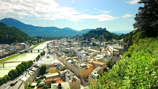 pan: city of salzburg, austria, in summer. - real time stock videos & royalty-free footage