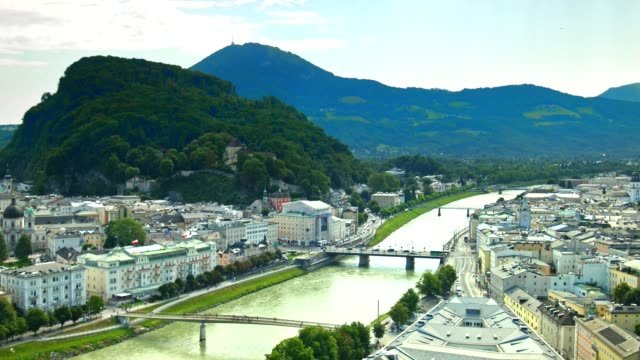 pan: city of salzburg, austria, in summer. - vienna austria stock videos & royalty-free footage
