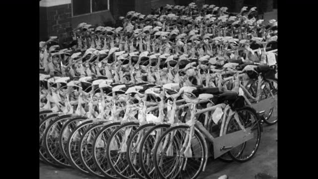 pan completed bicycles at end of production line; 1952 - 1952 stock videos & royalty-free footage