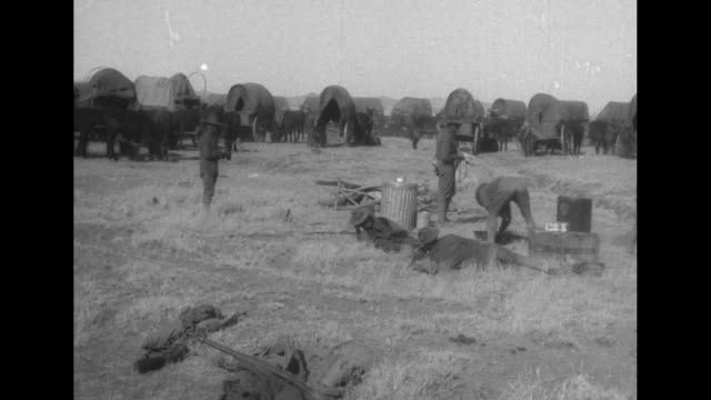 vídeos de stock, filmes e b-roll de pan convoy of mexican punitive expedition transport wagons camped in field on gibson's ranch en route to gen john pershing's base / man shoeing mule... - oficial posto militar