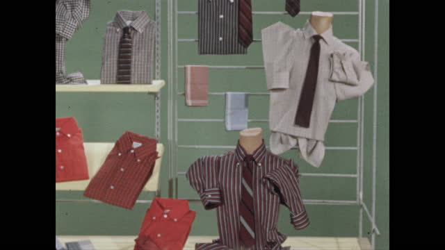 pan department store display of men's shirts in bright colors - department store stock videos & royalty-free footage