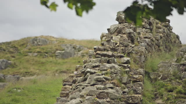 pan down hadrian's wall in cumbria, england - general view stock videos & royalty-free footage