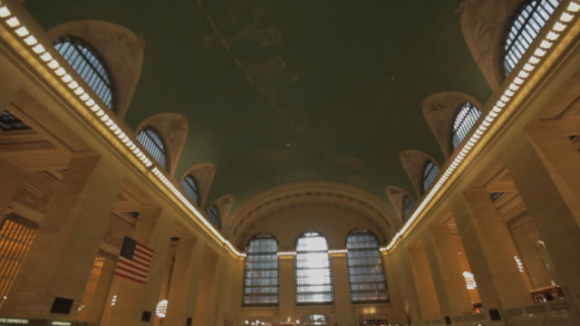 pan down in grand central terminal, new york city - grand central station manhattan stock videos & royalty-free footage