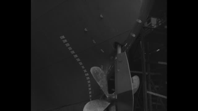 pan down of the propeller and plimsoll lines of canadian cargo ship fort ville-marie / hundreds of spectators far below / mrs. alice worcester howe... - propeller video stock e b–roll