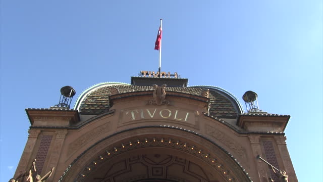 Pan down the main entrance to Copenhagen's famous Tivoli Gardens.