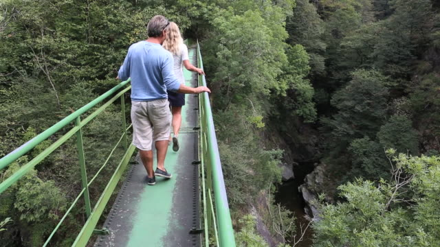 pan down to couple walking along narrow bridge over gorge - enge stock-videos und b-roll-filmmaterial