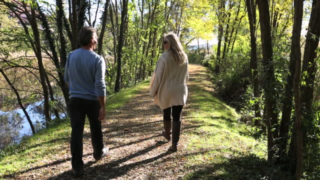 Pan downwards as couple walks along path in forest, talking