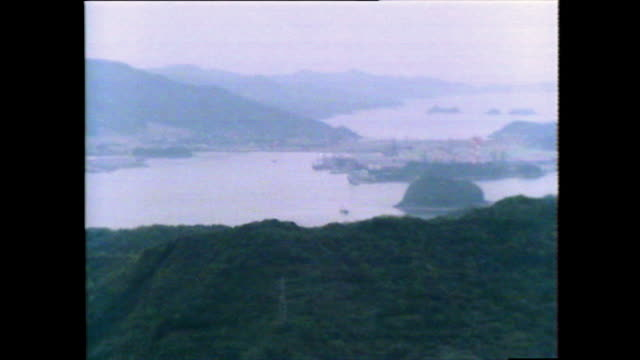 ha pan east china sea to nagasaki harbour shipyard; 1981 - china east asia stock videos & royalty-free footage
