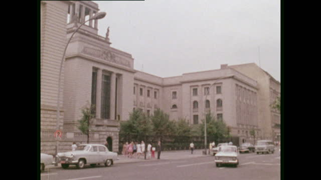 pan ext of russian embassy in east berlin; 1970 - politics stock videos & royalty-free footage