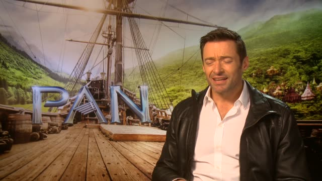 'pan' film interviews england london int hugh jackman interview sot on playing a villain my kids were like well finally everyone get's to see what... - tiger lily stock videos & royalty-free footage