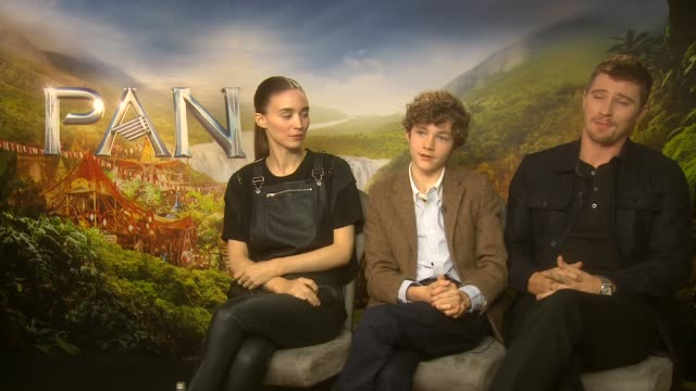 'pan' film interviews rooney mara levi miller and garrett hedlund interview sot on it being a new take on peter pan what song gets them going on what... - tiger lily stock videos & royalty-free footage