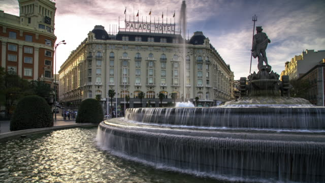 t/l pan fountain at paseo del prado roundabout - paseo del prado madrid stock videos and b-roll footage