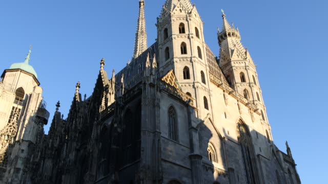 Pan from bottom to top and back of St Stephen's Cathedral Stephansdom in Vienna in Austria